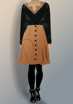 Vrouw gekleed in zwarte blouse panty schoenen en bruine rok