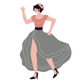 Vrouw gekleed met mexicaans allerheiligenkostuum dansend meisjehalloweenfeest vector