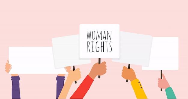 Vrouw gelijk. vrouwen verzetten zich tegen symbool. illustratie.