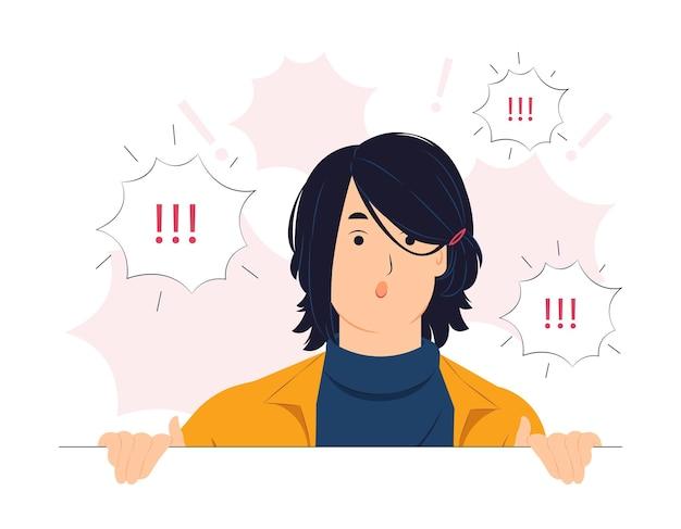 Vrouw geschrokken, geschokt, verrast, sprekend, luisterend, horend, fluisterend en let op conceptillustratie