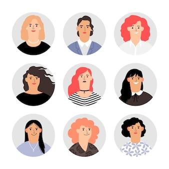 Vrouw gezicht avatar portretten. vrouwelijke gezichten avatars, vector vrouwen personen, verschillende hoofden van vector meisjes met mooi haar, kleurrijke blonde en brunette gelukkige karakters