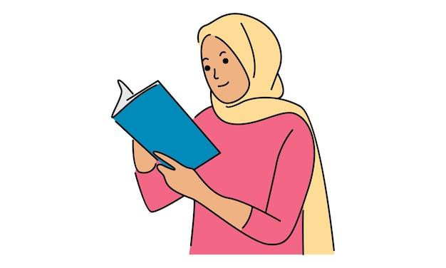 Vrouw gezicht bedekt met hijab en leest een boek