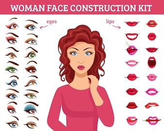 Vrouw gezicht bouwpakket
