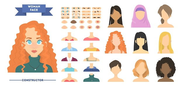 Vrouw gezicht constructeur. vrouwelijke avatar maken of instellen voor animatie met verschillende haarstijlen en emoties. geïsoleerde vectorillustratie in cartoon stijl