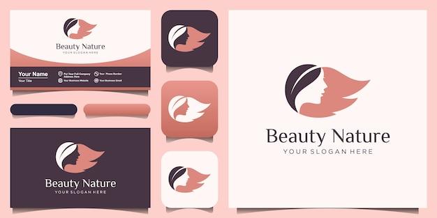 Vrouw gezicht en haar blad salon logo