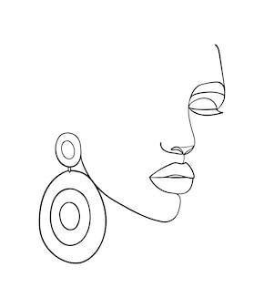Vrouw gezicht lijntekening. mode concept, vrouw schoonheid minimalistisch. - vectorillustratie.