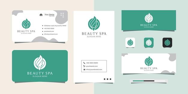 Vrouw gezicht logo ontwerp voor cosmetische schoonheidssalon en spa visitekaartje