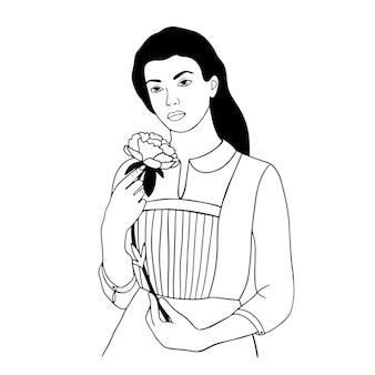 Vrouw gezicht met bloemen continu lijntekening kunst bloem in vrouw hand