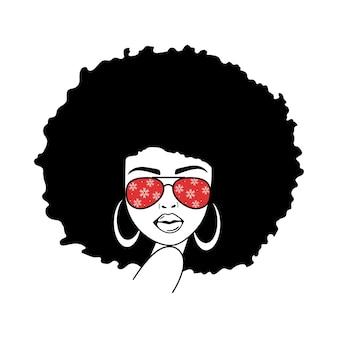 Vrouw gezicht met vliegeniersbril en sneeuwvlokken print afro women african american woman