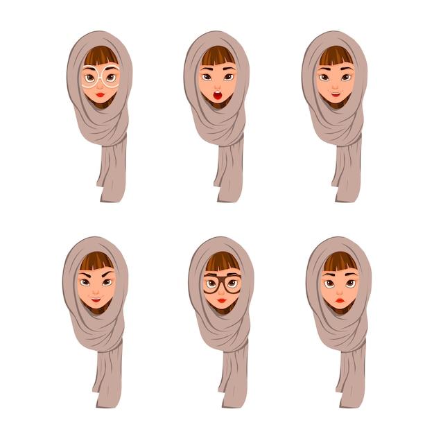 Vrouw gezicht tekens in een sjaal met verschillende gezichtsuitdrukkingen op wit