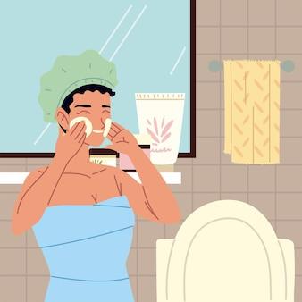 Vrouw gezicht zelf huidverzorging reinigen