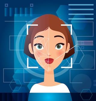 Vrouw gezichtsherkenning concept. biometrische gezichtsscanning, futuristische beveiliging, persoonlijke verificatie op monitor, cyberbeschermingsconcept.