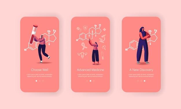 Vrouw gezondheid, gynaecologie geneeskunde controleer mobiele app paginasjabloon scherm