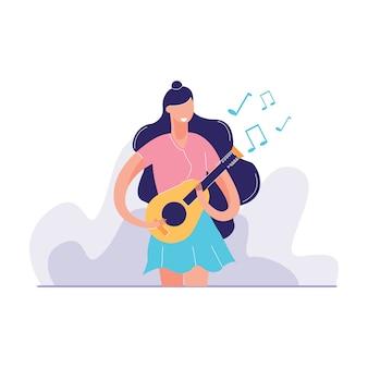 Vrouw gitaarspelen vectorillustratie
