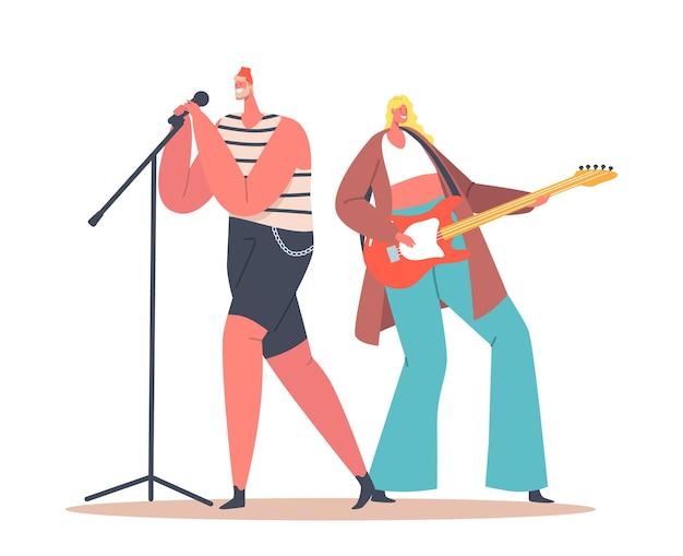 Vrouw gitarist en man zanger met microfoon zingen lied in muziekband op het podium. zanger en gitarist personages vermakelijk, muzikaal recreatieconcept. cartoon mensen vectorillustratie