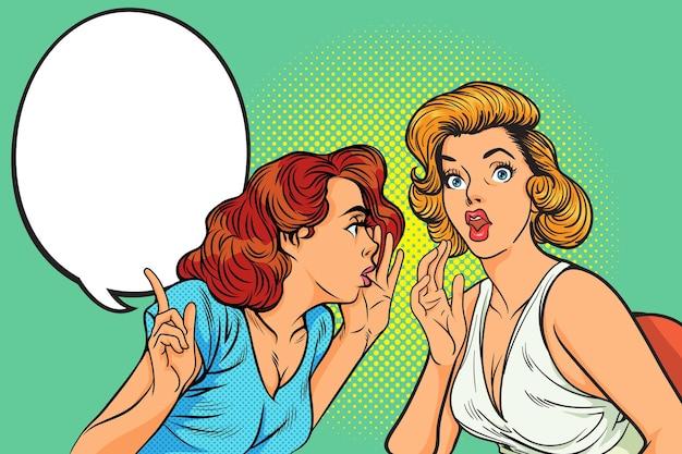 Vrouw gossip gebaar achtergrond in komische retro pop-art stijl.