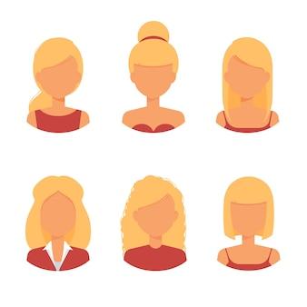 Vrouw haar avatar blond kapsel en trendy kapsel