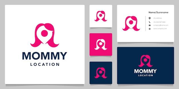 Vrouw haar en pin punt reizen negatief ruimte logo ontwerp