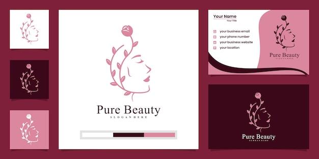 Vrouw haar natuur salon spa logo ontwerp en visitekaartje