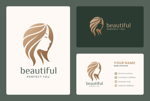 Vrouw haar schoonheid logo ontwerp voor salon, kapper, schoonheidsverzorging, make-up.