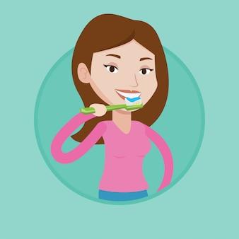 Vrouw haar tanden poetsen vectorillustratie.