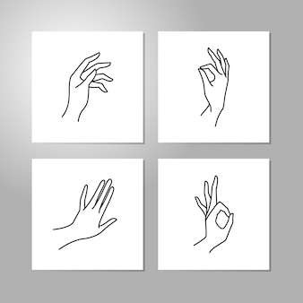 Vrouw hand lijn collectie. vectorillustratie van vrouwelijke handen van verschillende gebaren - overwinning, oke. lineart in een trendy minimalistische stijl. logo ontwerp, handcrème, nagelstudio, posters, kaarten.