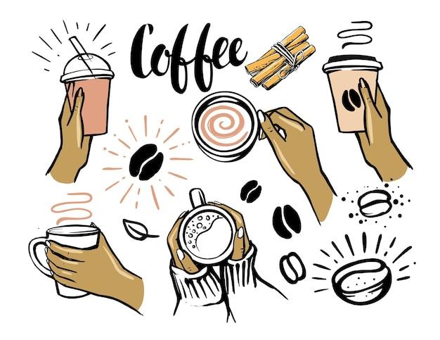 Vrouw hand met kopje koffie.