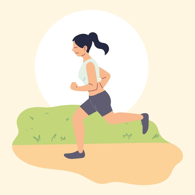 Vrouw hardlopen of joggen, buitenactiviteit
