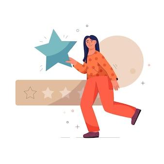 Vrouw heeft een grote ster en beoordeelt service tegen vijf