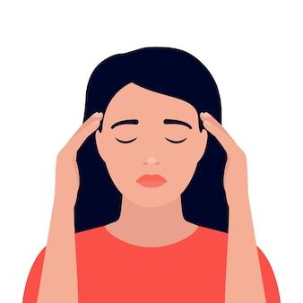 Vrouw heeft hoofdpijn duizeligheid stress pijn in hoofd angstige gedachten jong meisje houdt hoofd handen vast