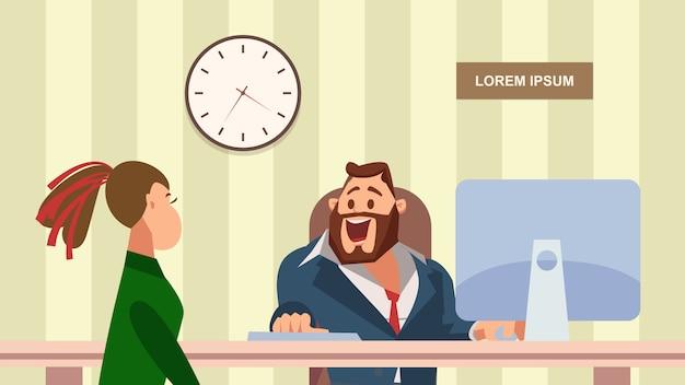 Vrouw heeft sollicitatiegesprek met happy office manager