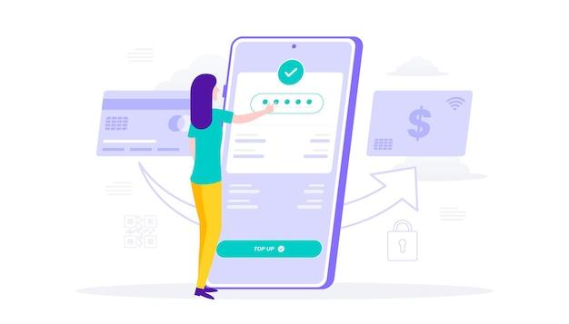 Vrouw herlaadt e-wallet mobiele app creditcard betalingsconcept