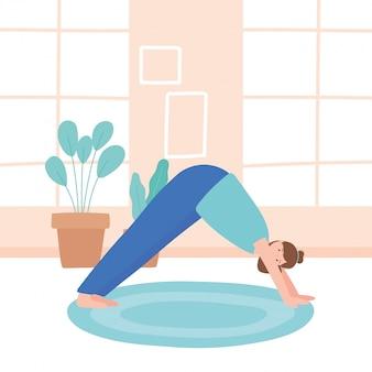 Vrouw het beoefenen van yoga svanasana vormen oefeningen, gezonde levensstijl, fysieke en spirituele praktijk illustratie