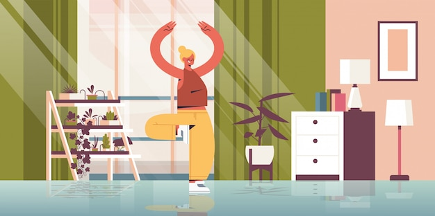 Vrouw het beoefenen van yoga thuis meisje permanent in boom pose fitness training gezonde levensstijl sport concept woonkamer interieur volledige lengte illustratie