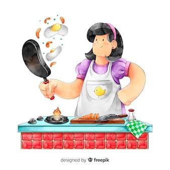 Vrouw het koken bij de keuken