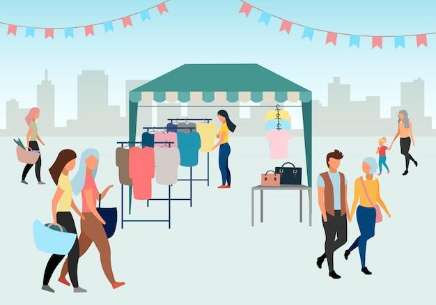 Vrouw het kopen van kleren op straatmarkt vlakke afbeelding. handelstent, eerlijke luifel. koper bij lokale kledingwinkel, winkel. mensen lopen zomerbeurs. markttent met tweedehands kleding