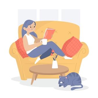 Vrouw het ontspannen op de laag thuis