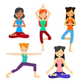 Vrouw het praktizeren yoga in de boom stelt. in asana vrikshasana.