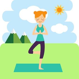 Vrouw het praktizeren yoga op de achtergrond.