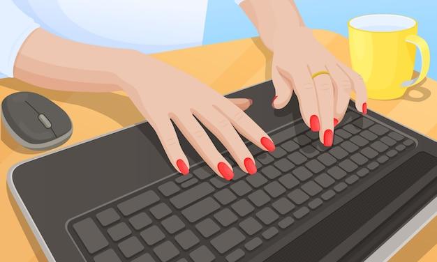 Vrouw het typen op toetsenbord, vectorillustratie