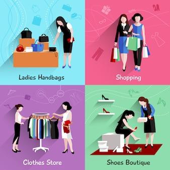 Vrouw het winkelen ontwerpconcept dat met handtassenkleren wordt geplaatst en de schoenen slaat vlakke geïsoleerde pictogrammen op
