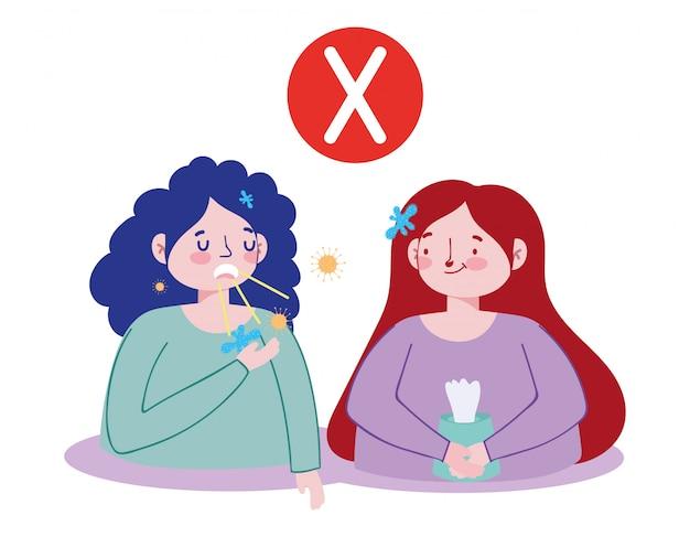 Vrouw hoest zonder de mond te bedekken en meisje met droge doekjes, covid 19 coronavirus pandemische preventie