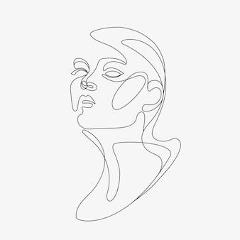 Vrouw hoofd lineart illustratie one line stijl tekening