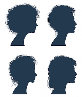 Vrouw hoofd vector silhouetten