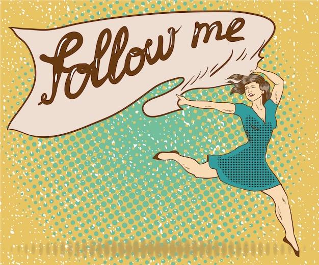Vrouw houdt banner met volg mij teken. illustratie van de pop-art grappige retro stijl