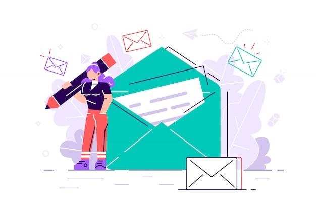 Vrouw houdt mail. chatten. zakelijke illustratie. werkproces