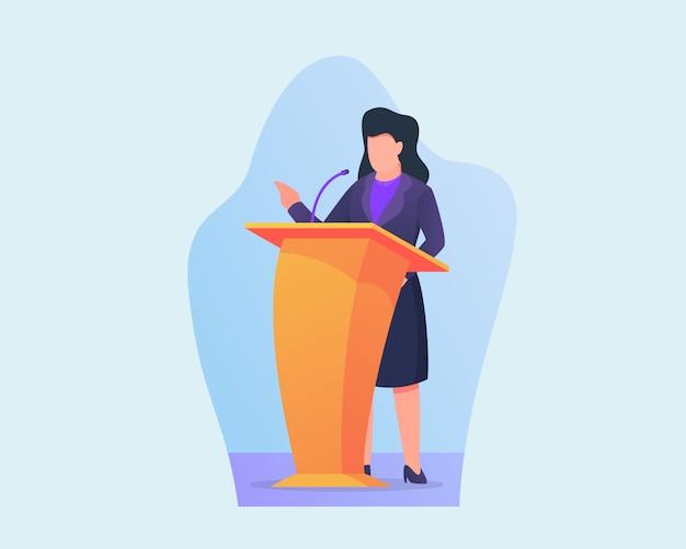 Vrouw houdt zakelijke toespraak op podium met moderne vlakke stijl