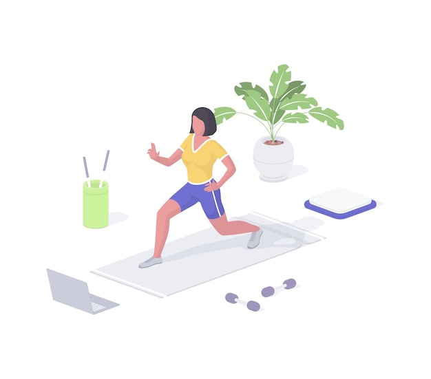 Vrouw houdt zich bezig met fitness isometrische vector