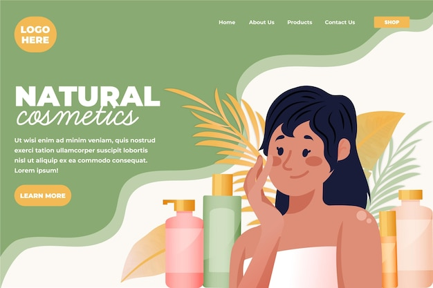 Vrouw huidverzorging routine illustratie