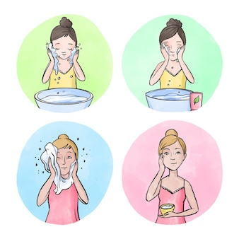 Vrouw huidverzorging routine ontwerp